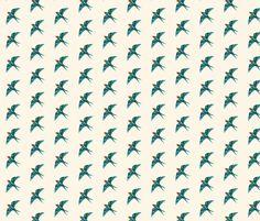 Swallow Retro on Natural Cream, Half Drop fabric by thistleandfox on Spoonflower - custom fabric