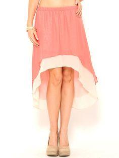 Chiffon Layered High Low #Skirt