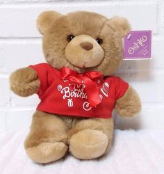 Oshko Happy Birthday Teddy Bear Stuffed Animal Plush Red Shirt NWT         (A28) #Oshko