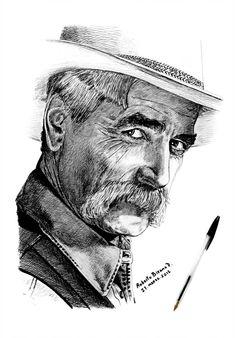 Sam Elliott by RobertoBizama on DeviantArt Portrait Au Crayon, Pencil Portrait, Celebrity Caricatures, Celebrity Drawings, Papa Tag, Katharine Ross, Art Visage, Sam Elliott, Cowboy Art