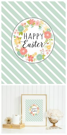 Floral Happy Easter Print