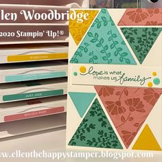 I was/am totally intrigued with the Stampin' Up! Stitched Triangle Dies and what patterns I could make with them. For this card I have paired them the Lovely You stamp set for both the sentiment and images. I added Playing with Patterns Resin Dots to the sentiment. I used the images to stamp the triangles with the matching inks for tone on tone stamping. Right Triangle, Stamping Up Cards, Card Tags, Greeting Cards Handmade, Diy Cards, Homemade Cards, Cardmaking, Stampin Up, Birthday Cards