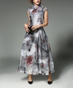 Take a look at this Coeur de Vague Gray Floral Maxi Dress today!