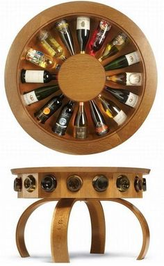 SUCH a neat table! Can fill with empty wine bottles for a decorated look OR use as a wine rack! BRILLIANT