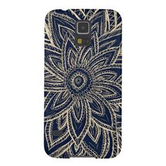 Cute Retro Gold Abstract Flower Drawing on Black Galaxy S5 Cases