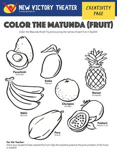 Color the fruit while practicing their names in Swahili. You say banana, I say ndizi!