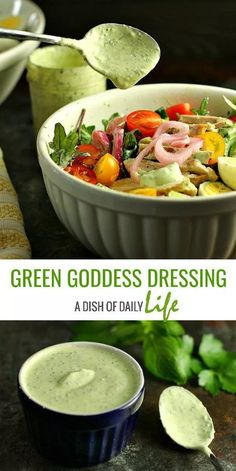 "{AD} GREEN GODDESS DRESSING Swap out the sour cream for Greek yogurt in this ""lightened"" up version of Green Goddess Dressing! This delicious classic salad dressing doubles as a vegetable dip and takes only minutes to make! SO ADDICTING! @nedairy #greengoddess #saladdressing #TeamDairyNE #NationalDairyMonth #undeniablydairy"