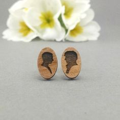 FREE US SHIPPING - JohnLock Earrings - Laser Engraved on Alder Wood - Hypoallergenic Titanium Post Earrings - Sherlock and Watson