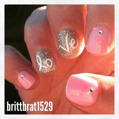 2015 Valentine's Day manicure gel nails design