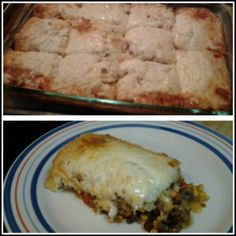 Tamale pie. Hamburger meat browned with taco seasoning, diced onion, canned corn(drain), canned diced tomato (drain), canned black beans(drain), 7oz can green chiles. Mix all together, flatten in 13x9in pan, layer tomale masa ontop (i used maseca made as directed onbag for dough), layer jack cheese on top. Bake @350 for 30min to 1hr or until masa is cooked in center & cheese is golden around edges.