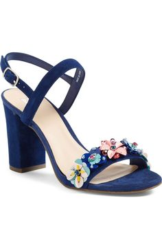 BP. Lula Block Heel Slingback Sandal (Women) at Nordstrom.  Gorgeous flower details!