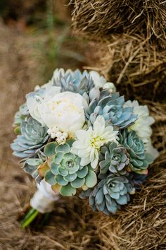 succulent wedding bouquet - white and green fall wedding bouquet, succulents and white roses - Rustic Wedding Flowers, Fall Wedding Bouquets, Flower Bouquet Wedding, Non Flower Bouquets, Wedding White, Succulent Wedding Centerpieces, Wedding Flower Arrangements, Wedding Bouquet Succulents, Floral Arrangements