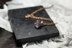 wire wrap fluorite crystal pendant, copper charm necklace, purple raw octahedral crystal,  long chain pendant, boho healing jewelry by Nigredolab on Etsy