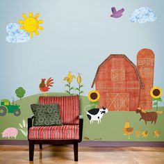 Farm Wall Stickers & Decals for Kids Room and Baby Nursery Farm Theme Wall Mural  - FREE SHIPPING (USA)