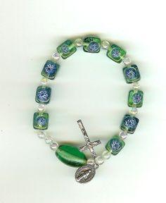 Handmade Stretch Rosary Bracelet by blessedbeadsbynann on Etsy, $14.00