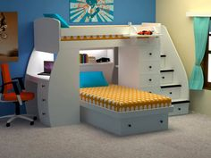 Kids Cottage Furniture has an impressive line of durable & stylish bunk beds. We offer customization options to build the perfect bed for your child's room. Bunk Bed With Desk, Loft Bunk Beds, Bunk Beds With Storage, Kids Bunk Beds, Modern Kids Beds, Grey Wall Color, Color Blue, Space Saving Bedroom, Twin Platform Bed