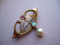 Antique Art Nouveau 9ct Rose & Yellow Gold Brooch Ruby, Opal and Pearl.