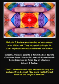 Post Andrews death as a result of HIV/AIDS.  #LGBT  http://www.lgbthistorycornwall.blogspot.com