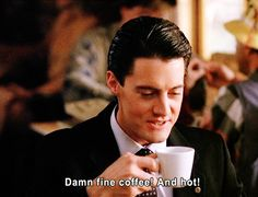 [Pete Martell pours coffee for Dale Cooper and Sheriff Truman.]