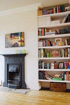 Installing A Fireplace Shelves next to fireplace Edwardian Fireplace Living Room Shelves, Home Living Room, Living Room Designs, Living Room Decor, House Shelves, Box Shelves, Glass Shelves, White Floating Shelves, Floating Shelves Bathroom