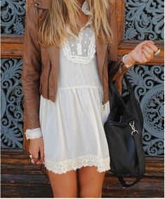 brown leather jacket with dress. So adorable