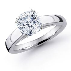 Cushion cut diamonds make solitaires into simple yet unique engagement ring--this is exactly what I want