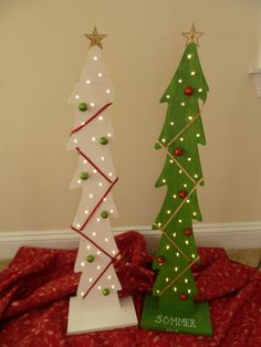 Lighted wooden Christmas trees with ornaments by SunnyHillConcepts, $30.00