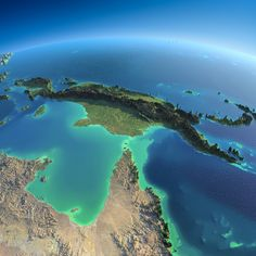Exaggerated relief map of northern Queensland, Australia and New Guinea, with the Great Barrier Reef between the two. Aesthetic Photography Nature, Space Photography, Rpg Map, Australia Map, Queensland Australia, Earth From Space, Fantasy Landscape, Beautiful Places To Visit, Papua New Guinea