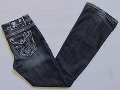 MEK Denim Jeans 28 34 Jakarta 1 Boot Cut Dark Blue Distressed Flap Thick Stitch  #MEK #BootCut #Jakarta-1; #Saveonyourstyle