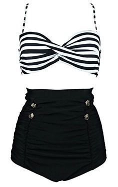 Cocoship Black & White Stripe High Waisted Bikini Buttons Vintage Bathing Suit Ruched Swimwear S(FBA)