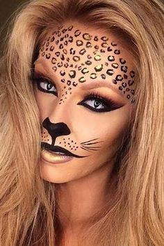 Looking for for ideas for your Halloween make-up? Browse around this website for cute Halloween makeup looks. Cute Halloween Makeup, Halloween Looks, Easy Halloween, Costume Halloween, Women Halloween, Halloween Party, Lion Halloween, Halloween Season, Halloween 2018