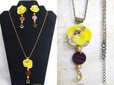 BIG SALE Yellow Brown Jewelry set Flower jewelry by CocoFlowerShop
