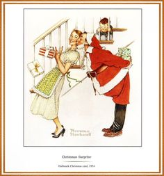 I Saw Mommy Kissing Santa Claus by Norman Rockwell for Hallmark Cards Peintures Norman Rockwell, Norman Rockwell Art, Norman Rockwell Paintings, Illustration Noel, Christmas Illustration, Illustrations, Vintage Christmas Cards, Retro Christmas, Christmas Art