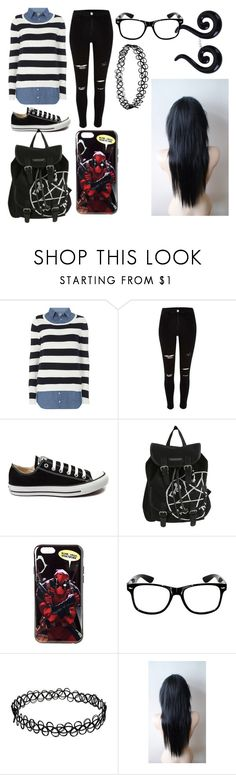 """""""Trins #1"""" by maynardxconor ❤ liked on Polyvore featuring beauty, Dorothy Perkins, River Island, Converse, Hot Topic and Marvel"""
