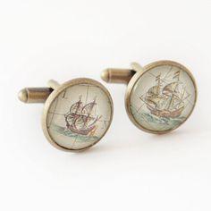 Yacht cufflinks, Ships on the sea, Sailor wedding, Ocean admirer, Seaside scene, Retro sailing ship, Cuff Links, Mens Accessories