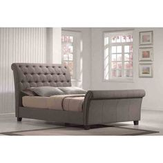 Innsbruck Upholstered Sleigh Bed $670 | looks slightly like restoration hardware - just add studs and different legs/feet for a slight upgrade