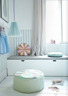 lovely pastel corner - with pillows/puff from Place de bleu Shared Boys Rooms, Baby Boy Rooms, Kids Rooms, Baby Room Design, Baby Room Decor, Nursery Design, Kids Decor, Home Decor, Kids Corner