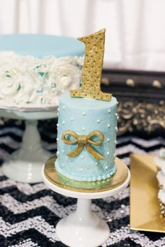 Tiffany Blue and Gold Smash Cake