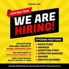 job hiring ad template, we are hiring ad, were hiring flyers, small business hiring templates, workers needed/wanted template. Wanted Ads, Help Wanted, We Are Hiring, Jobs Hiring, Wanted Template, Hiring Poster, Business Flyer Templates, Business Flyers, Join Our Team