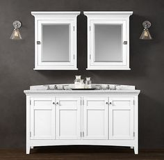 Cartwright Double Vanity Sink. 60Wx23D Simple, classic design. Love the Curved arch backsplash. Go with white marble top and either white or charcoal base. Pair with Medicine cabinets for extra storage!