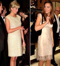 Both Diana and Catherine stepped out in a chic cap-sleeve nude dress with a lace overlay.