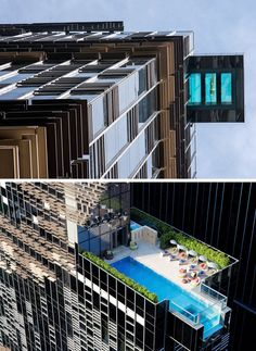 International architectural firm Aedas, designed the Hotel Indigo in Hong Kong, that features a swimming pool that hangs out over the edge of the building.