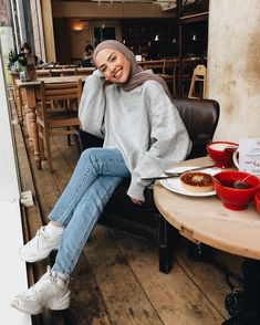 Image may contain: 1 person, sitting, shoes and indoor – Hijab+ - Kindermode Modern Hijab Fashion, Street Hijab Fashion, Hijab Fashion Inspiration, Muslim Fashion, Modest Fashion, Casual Hijab Outfit, Casual Outfits, Mode Outfits, Fashion Outfits