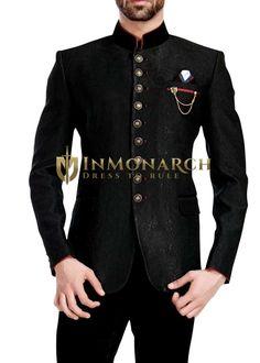 Mens Black 4 Pc Wedding Jodhpuri Suit 9 Button is part of Mens wear wedding - Engagement Dress For Groom, Groom Wedding Dress, Wedding Suits, Wedding Engagement, Beige Suits For Men, Black Suit Men, Mens Suits, Mens Fashion 2018, Indian Men Fashion