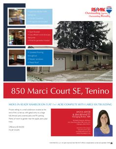 850 Marci Ct in Tenino Wa $184,000.  Priced to sell & Move in ready! Rambler on fully usable shy acre complete with large 416 sq ft outbuilding. Open floor plan, spacious kitchen with eating bar, corian counters and all appliances included! Cozy efficient wood stove plus heat pump & wired for generator, also included. Updated flooring throughout, newer windows & metal roof. Call Anya Myer to schedule a tour 360.870.5191
