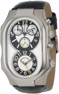 Philip Stein Men%27s 3-NGW-AN Signature Stainless Steel Chronograph Navy Alligator Strap Watch