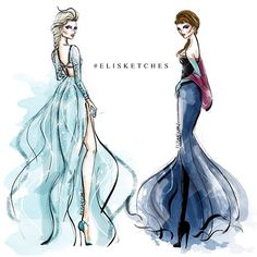 Disney It-girls, Anna and Elsa by elisketches Disney Princess Fashion, Disney Style, Disney Fashion, Disney Couture, Princess Art, Princess Style, Disney Sketches, Disney Drawings, Drawing Disney