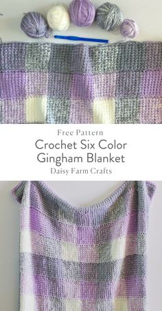 Free Pattern - Crochet Six Color Gingham Blanket