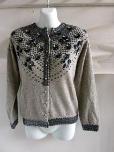 Vintage 50s Sweater Size 40 Chest Gray Pewter Beaded by jdbok, $35.10