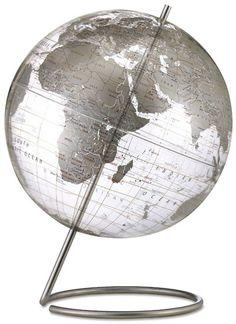 "Mid Century Modern Style Transparent Silver World Globe 12"" | Available from NOVA68.com Modern Design"